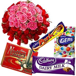 Stunning 50 Pink and Red Roses with Yummy Cadburys Chocolates