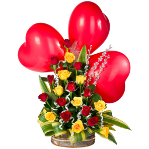 Morning freshness with charming mixed Roses along with adorable Red heart Balloons