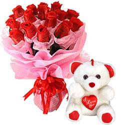 Long Lasting – Red Roses Bouquet with Teddy