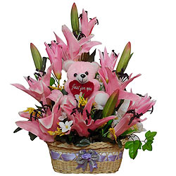 Exquisite Pink Long Lasting Flowers and Teddy in a Basket