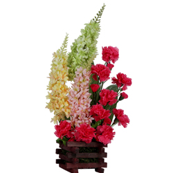 Sensational display of Long Stem Flowers with Artificial Pink Carnations in Basket