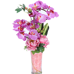 Radiant Artificial Roses N Orchids Arrangement in a Clear Vase