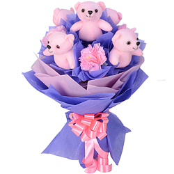 Adorable Arrangement of Pink Teddies N Artificial Pink Carnations in a Buky