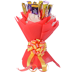 Mouth-Watering Arrangement of Cadbury Dairy Milk N 5 Star Chocolates in a Bouquet