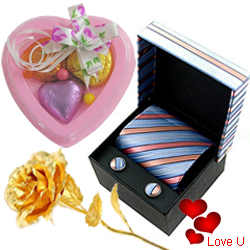 Sensual Corporate Attire Set with 1 Golden Rose and 3 pcs Heart Homemade Chocolate