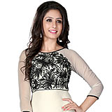 Charismatic White and Black Coloured Georgette Embroidered Kurti
