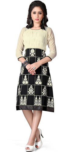 Attractive and Appealing Georgette Embroidered Kurti in Beige and Black Colour