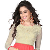 Comfy Georgette Embroidered Kurti in Beige and Pink Colour