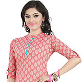 Charming and Appealing Pink Coloured Cambric Cotton Printed Kurti