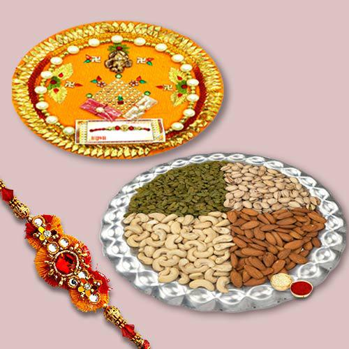 Gorgeous Thread Rakhi With Dry Fruits, Traditional Puja Thali, Set Of Roli Chaval