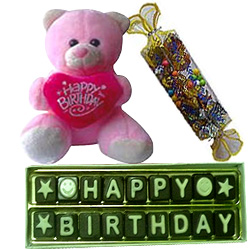 Unique Birthday Celebration Teddy n Assorted Handmade Chocolates Combo
