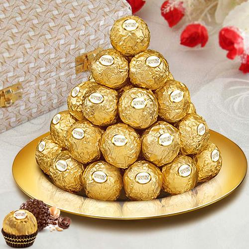 Ferrero Rocher Chocolates with Gold Plated Thali