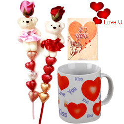 Lovely Combo of Cute Teddy N Handmade Chocolates in a stick with a Love Mug and Free I Love You Card