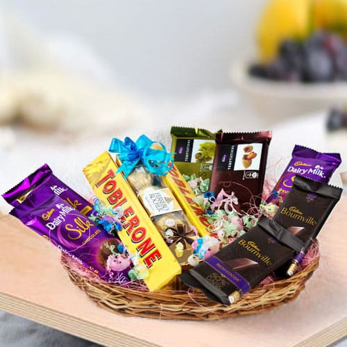 Scrumptious Assorted Chocolates Gifts Basket