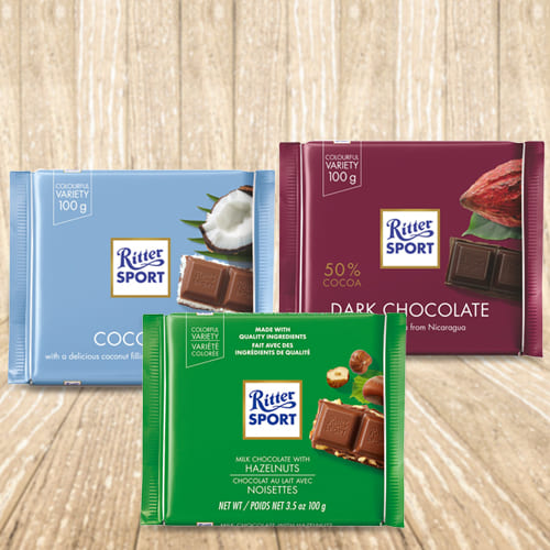 Appetizing Ritter Sport Pack of 3 Assorted Chocolates
