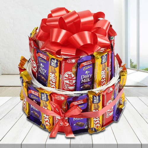 Pleasurable Double Deck Arrangement of Assorted Cadbury n Nestle Chocolates