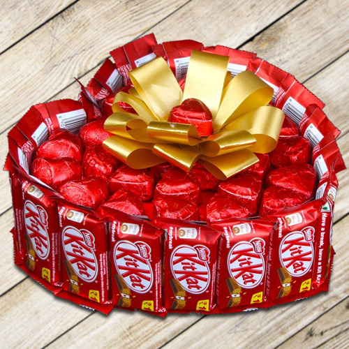 Exceptional Heart Shape Bouquet of Nestle Kitkat with Handmade Chocolates