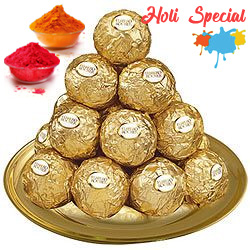 Gracefully Positioned Ferrero Rocher Chocolates in a Golden Plated Thali