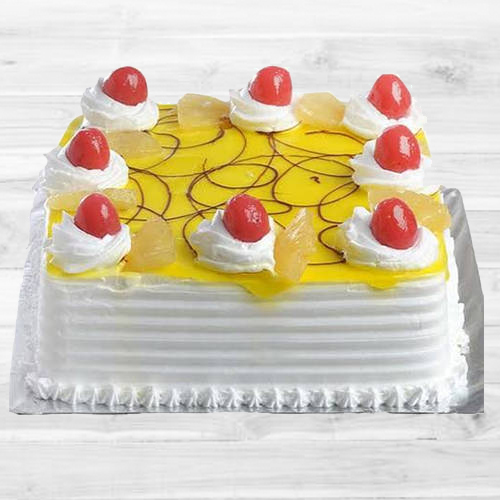 Purely Delectable Eggless Pineapple Cake