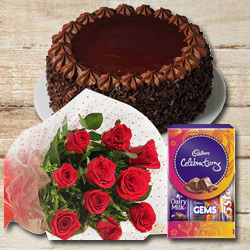 Shop Red Roses Bunch with Cadbury Pack N Chocolate Cake Online