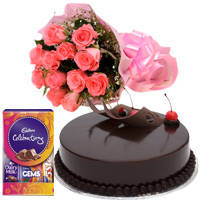 Deliver Pink Roses with Chocolate Cake N Cadbury Pack