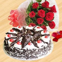 Deliver Combo Gift of Black Forest Cake N Red Roses Bunch