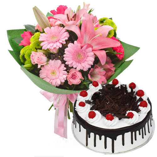 Lip-Smacking Black Forest Cake N Twelve Mixed Flower Bouquet