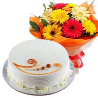 Send Online Vanilla Cake with Mixed Flowers Bunch