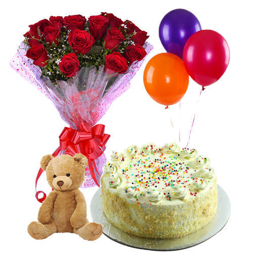Radiant Red Roses Hand Bunch with Balloons, Small Teddy & Vanilla Cake