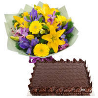 Shop Online Chocolate Cake with Mixed Flowers Bouquet