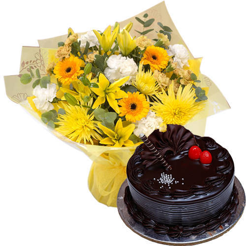 Marvelous Combo of Choco Truffle Cake n Mixed Flowers Hand Bunch