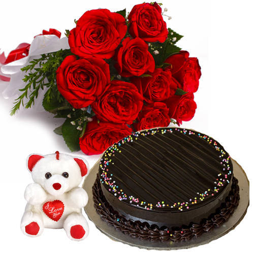 Fabulous Small Teddy with Choco Truffle Cake n Red Roses Hand Bunch