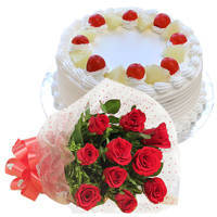 Send Combo Gift of Red Roses Bunch and Pineapple Cake Online