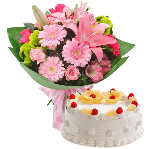 Gorgeous Mixed Flowers Hand Bunch & Pineapple Cake Gift