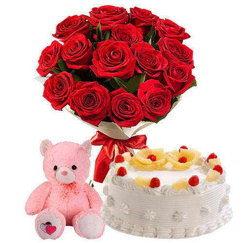 Zesty Pineapple Cake with Small Teddy & Red Roses Hand Bunch