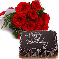 Send Eggless Chocolate Cake with Red Roses Bouquet Online
