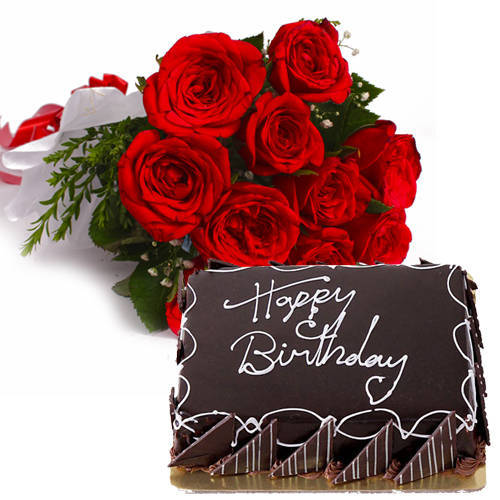 Blissful Eggless Choco Cake with Red Roses Bouquet