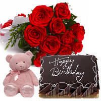 Book Online Eggless Chocolate Cake with Teddy N Red Roses