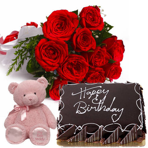 Exciting Small Teddy with Eggless Chocolate Cake & Red Roses Hand Bunch