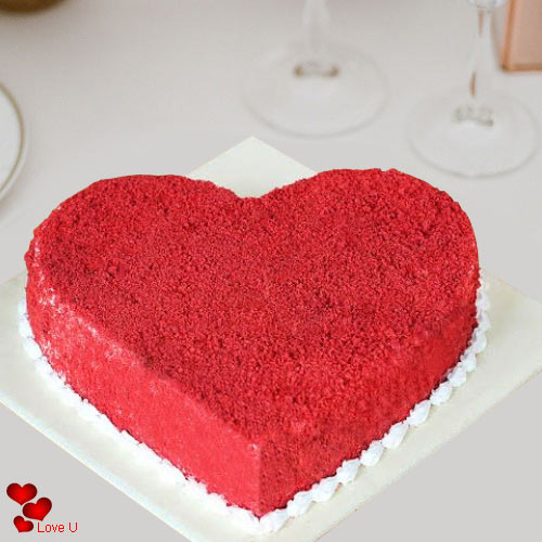 Valentines Day Special Heart Shape Red Velvet Cake
