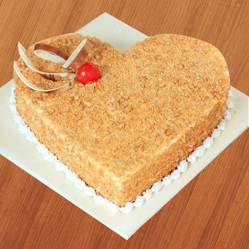 Artistic Butter Scotch Cake in Heart-Shape