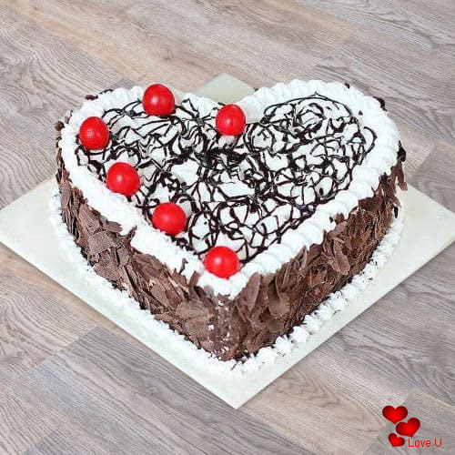 Delicious Black Forest Heart Shape Cake