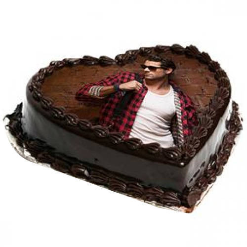 Heart-Shape Chocolate Photo Cake