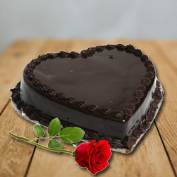 Deliver Combo of Heart-Shape Vanilla Cake with Single Rose Online