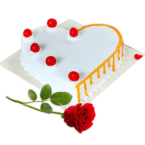 Classic Heart-Shape Vanilla Cake with Single Rose