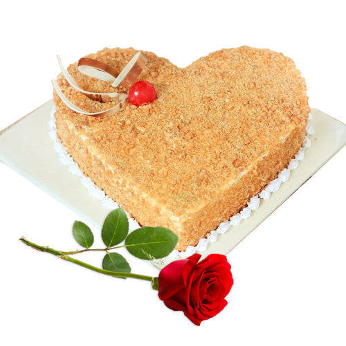 Sweet Heart Butter Scotch Cake with Single Rose