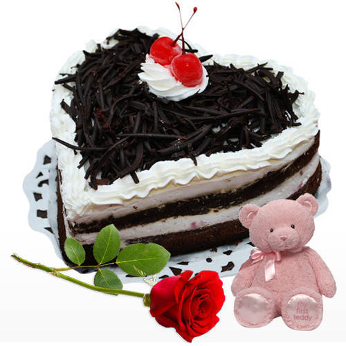 Famous Heart Shape Black Forest Cake with Teddy N Red Rose