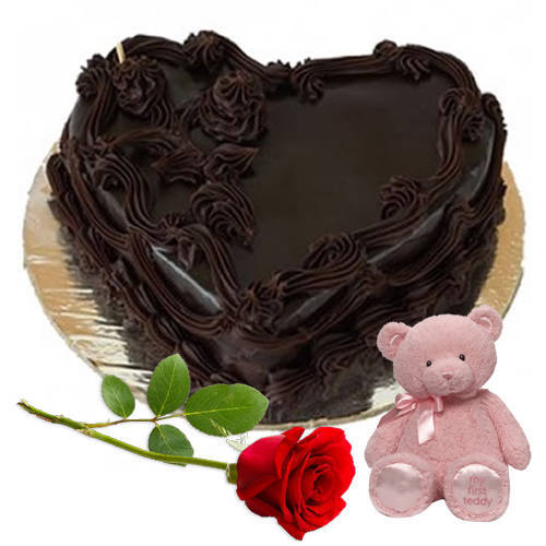 Exotic Hearth-Shape Chocolate Cake with Red Rose N Teddy