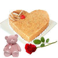 Gift Online Heart-Shape Black Forest Cake with Teddy N Red Rose