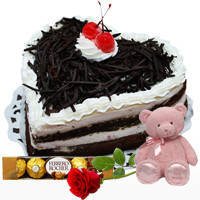 Order Online Heart-Shape Black Forest Cake with Ferrero Rocher, Teddy N Single Rose